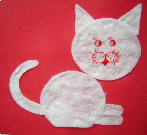 Поделки из ватных дисков кошка 81